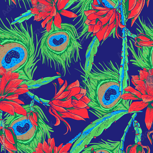 Photo sur Toile Papillons dans Grunge Seamless pattern with flowers and feathers