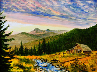 Panel Szklany Podświetlane Krajobraz oil painting landscape - sunset in the mountains, village house