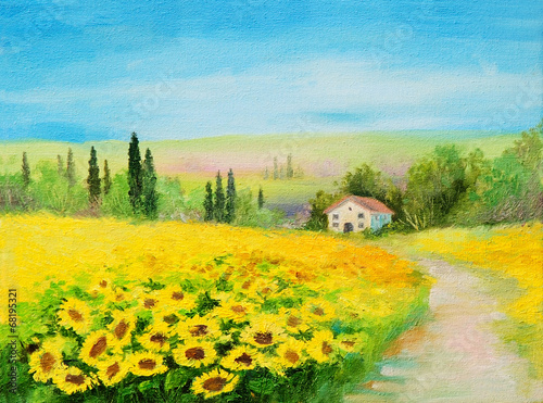 Poster Melon oil painting landscape - field of sunflowers