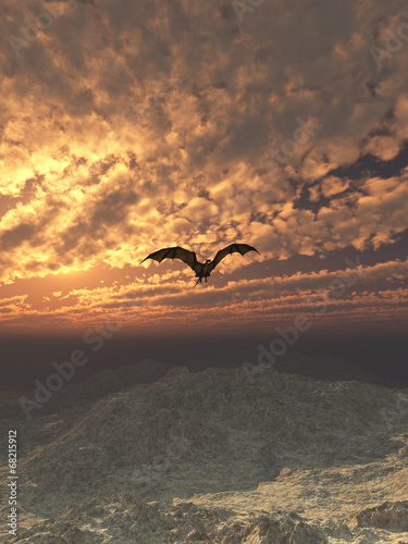 Foto op Plexiglas Draken Dragon Flying at Sunset