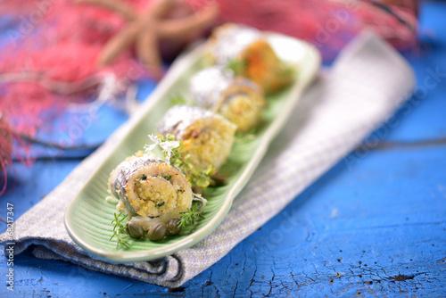 Valokuvatapetti involtino di pesce spatola