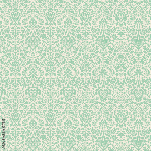 Fotografie, Obraz  mint green damask pattern
