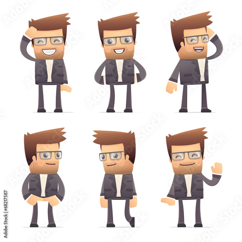 set of director character in different poses Canvas Print
