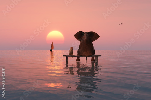 elephant and dog sitting in the middle of the sea Poster