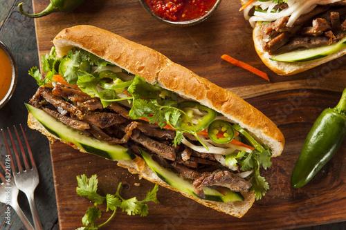 Staande foto Snack Vietnamese Pork Banh Mi Sandwich