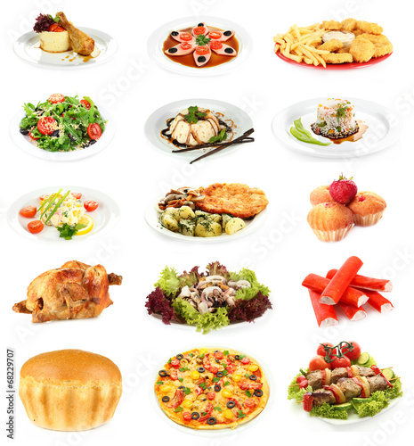 Food collage isolated on white © Africa Studio
