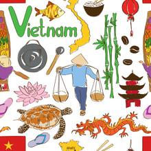 Sketch Vietnam Seamless Pattern
