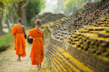 Buddhist Monk Walking For Receive Food