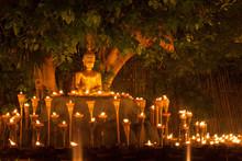 Floating Lantern In Wat Phan Tao, Chiangmai,Thailand