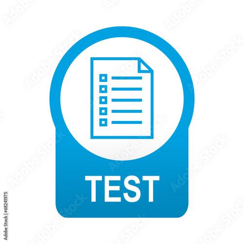 Foto  Etiqueta tipo app azul redonda TEST