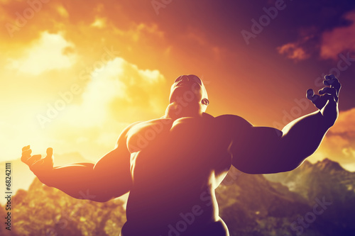 Fotografie, Obraz  Muscular strong man with hero, athletic body shape showing power