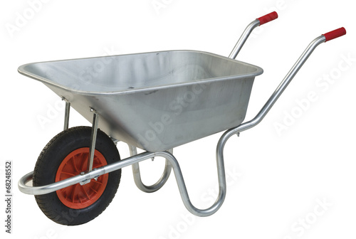 Cuadros en Lienzo  galvanised steel wheelbarrow cart isolated on white