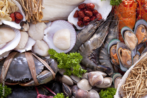 Poster Coquillage Fresh raw sea food specialties