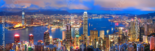 hong kong sunset panorama Canvas Print
