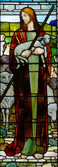 Naklejka Jesus the good sheperd in stained glass