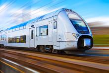 Modern High Speed Train With M...
