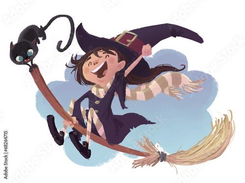Valokuva niña bruja volando