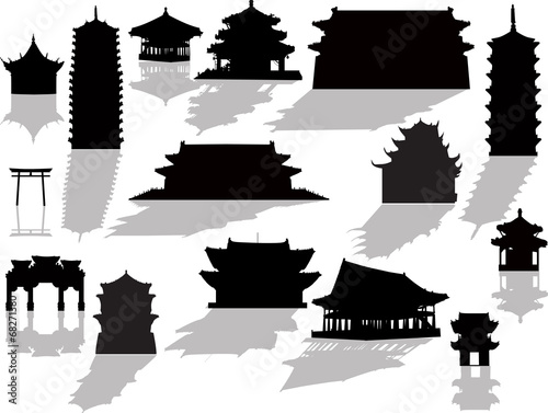Fotografiet isolated pagoda silhouettes with shadows