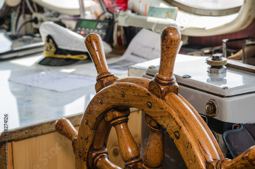Steering wheel of the ship. A workplace of the captain © Igor Sokolov