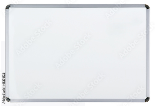 Empty whiteboard (magnetic board) isolated on white