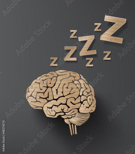Photo  vectorof sleep concept with brain.
