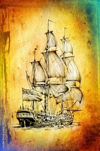 antyczna-lodz-motyw-morski-rysunek-recznie-robiony