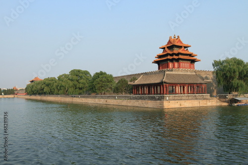 Tuinposter Beijing Forbidden city Jiaolou tower and river in Beijing, China