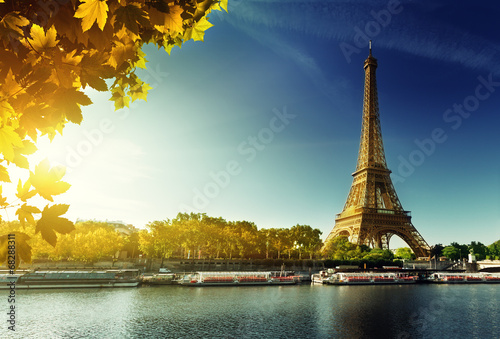 Fotografering  Seine in Paris with Eiffel tower in autumn season