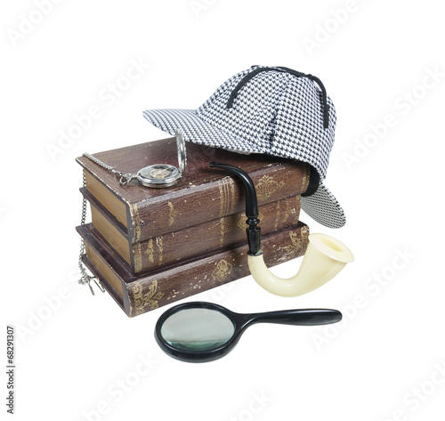 Fotografia  Mystery Books with Hat, Magnifier, Pipe and Pocket Watch
