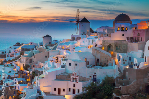Tuinposter Santorini Oia village at night, Santorini