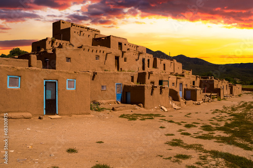 Adobe Houses in the Pueblo of Taos, New Mexico, USA. Canvas Print