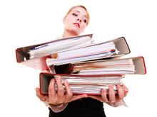 Paperwork. Businesswoman Carry...