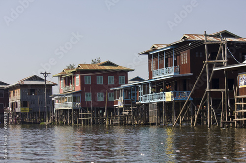 Fotografia, Obraz  Typical floating houses on Inle Lake, Myanmar