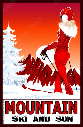Acrylic Prints Art Studio Poster of a woman practicing ski in the white snowy mountains