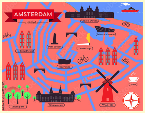 Photo City Map Illustration of Amsterdam