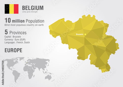 Belgium world map with a pixel diamond texture. Wallpaper Mural