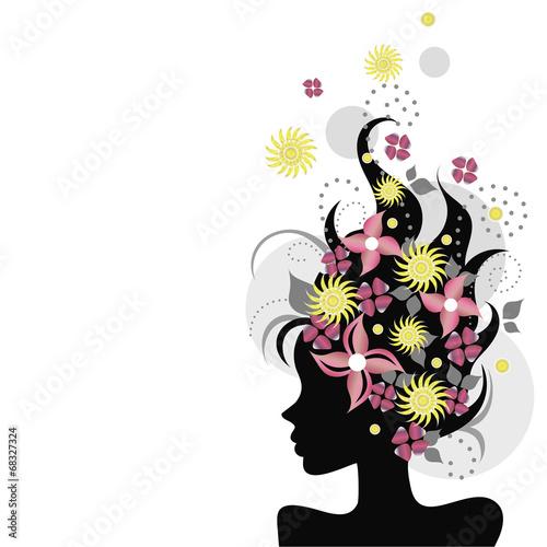 Poster Bloemen vrouw 66587656