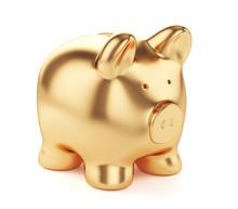 Golden Piggybank Isolated