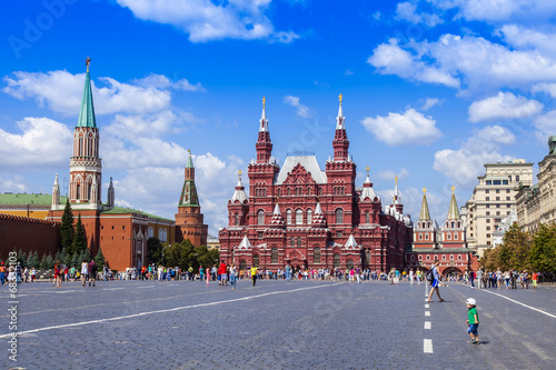 фотография  Moscow, Russia. Tourists and citizens walk on a Red Square