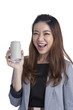 Young brunette businesswoman presenting a can of soft drink