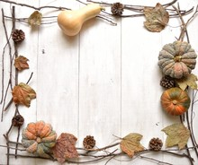 Pumpkin,pine Cone And Fall Leaf
