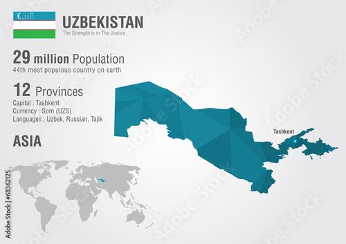 Uzbekistan world map with a pixel diamond texture. - Buy ...