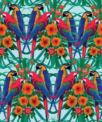 Fototapeta Egzotyczne Seamless pattern with macaws, palm leaves and flowers.