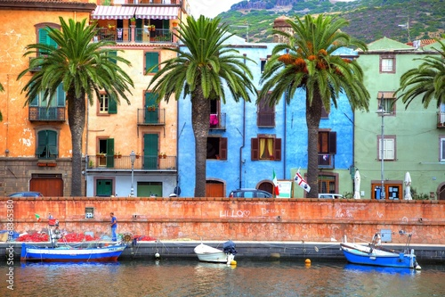 Boats on the river, Bosa, Sardinia Fototapet