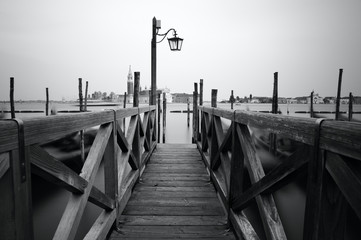Black and white photo of Venice seafront