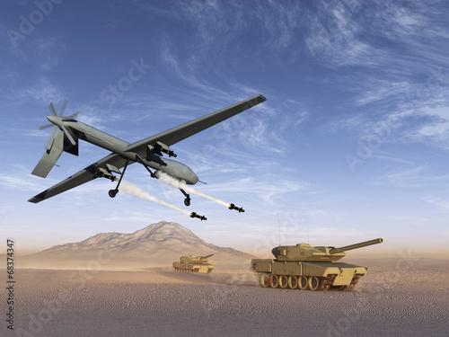 Fotografie, Obraz  Drone atacando tanques de guerra