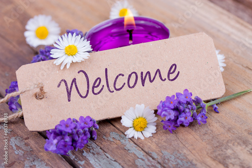 Fotografia  Welcome - Schild mit Dekoration