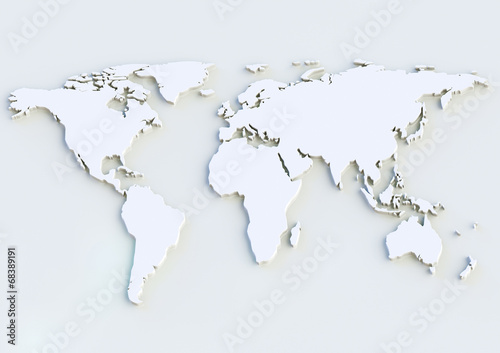 Spoed Foto op Canvas Wereldkaart Weltkarte 3D - World map 3D