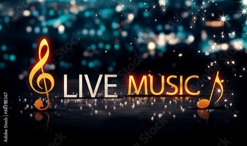 Live Music Gold Silver City Bokeh Star Shine Blue Background 3D