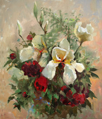 Obraz na Plexi Oil painting of the beautiful flowers.